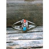 PB30- Pawn Navajo Turquoise & Coral Bracelet