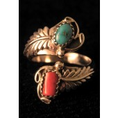 AR7 Adjustable Coral & Turquoise Ring