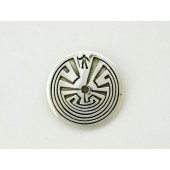 RMP6 Overlay Man in the Maze Pendant By Tohono O'odham Artist Rick Manuel