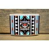 BB12 Zuni Handmade Inlay Belt Buckle