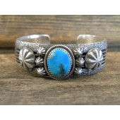 PB11 Pawn Heavy Sterling Silver Turquoise Bracelet