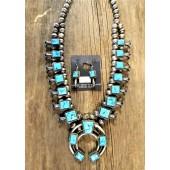 SBN2 Navajo Handmade Sleeping Beauty Turquoise Squash Blossom Necklace