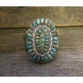 PB22 Pawn Navajo Handmade Kingman Turquoise Cluster Bracelet