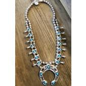 SBN3 Pawn Navajo Handmade Shadow Box Design Squash Blossom Necklace