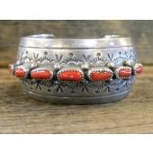 PB51 Pawn Navajo Handmade Coral Bracelet