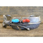 PB55 Pawn Turquoise & Coral Feather Bracelet