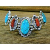 MLAB15 Monroe & Lillie Ashley Kingman Turquoise & Coral Bracelet