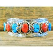ECB7 Effie Calavaza Turquoise & Coral Bracelet