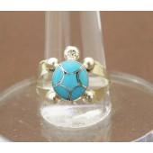 R7- Zuni Inlay Turquoise Turtle Ring