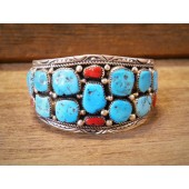 PB11- Pawn Turquoise & Coral Bracelet