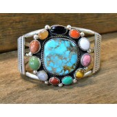 PB29- Pawn Multi Stone Navajo Bracelet