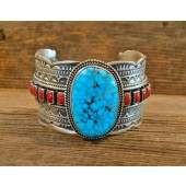 PB66- Pawn Turquoise & Coral Bracelet