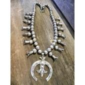 SBN11 Estate All Silver Squash Blossom Necklace