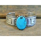 PB23 Pawn Navajo Handmade Sterling Silver Turquoise Bracelet