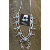 SBN13 Navajo Handmade Turquoise Squash Blossom Necklace