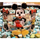 MMB1 Zuni Handmade Inlay Mickey Mouse & Minnie Mouse Bracelet
