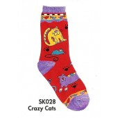 SK028- Crazy Cats Sock In Size 8-11