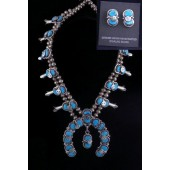 SBN39 Effie Calavaza Squash Blossom Necklace W/Earrings
